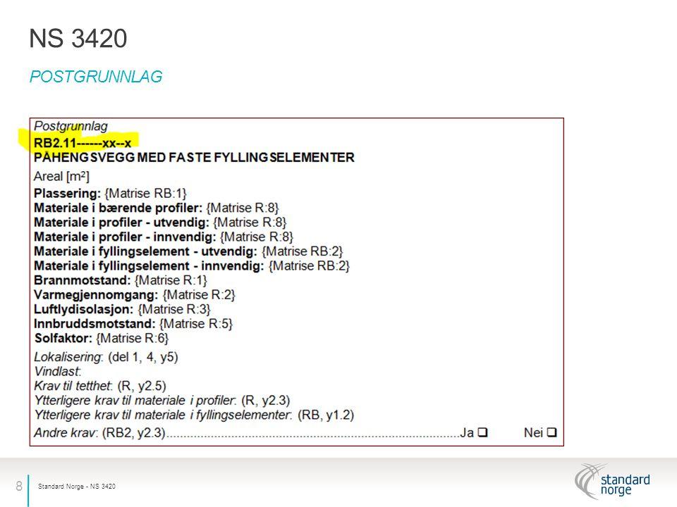 9 BESTEMMELSER PÅ FLERE NIVÅ NS 3420 Standard Norge - NS 3420 Standarden er ordnet hierarkisk med bestemmelser på flere nivåer, som eksemplet her viser RB2Påhengsvegg