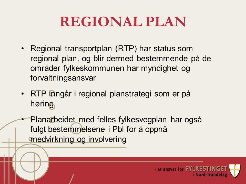REGIONAL PLAN Regional transportplan (RTP) har status som regional plan, og blir dermed bestemmende på de områder fylkeskommunen har myndighet og forvaltningsansvar RTP inngår i regional planstrategi som er på høring Planarbeidet med felles fylkesvegplan har også fulgt bestemmelsene i Pbl for å oppnå medvirkning og involvering