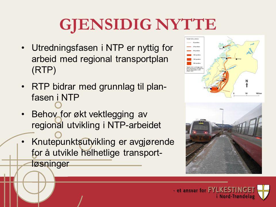 GJENSIDIG NYTTE Utredningsfasen i NTP er nyttig for arbeid med regional transportplan (RTP) RTP bidrar med grunnlag til plan- fasen i NTP Behov for økt vektlegging av regional utvikling i NTP-arbeidet Knutepunktsutvikling er avgjørende for å utvikle helhetlige transport- løsninger