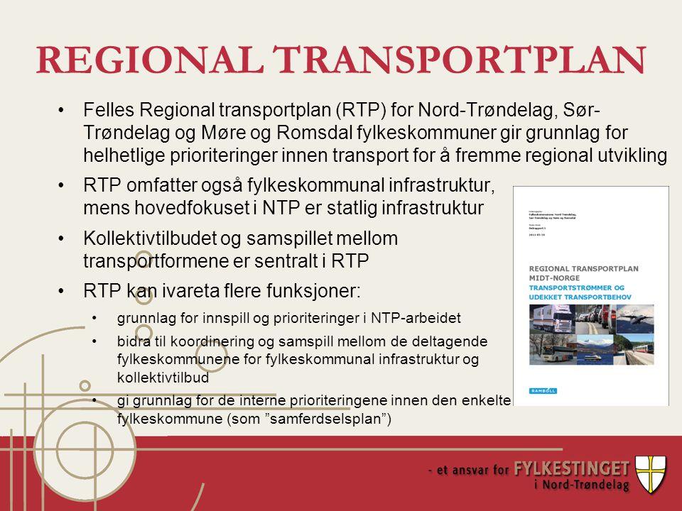 REGIONAL TRANSPORTPLAN RTP omfatter også fylkeskommunal infrastruktur, mens hovedfokuset i NTP er statlig infrastruktur Kollektivtilbudet og samspillet mellom transportformene er sentralt i RTP RTP kan ivareta flere funksjoner: grunnlag for innspill og prioriteringer i NTP-arbeidet bidra til koordinering og samspill mellom de deltagende fylkeskommunene for fylkeskommunal infrastruktur og kollektivtilbud gi grunnlag for de interne prioriteringene innen den enkelte fylkeskommune (som samferdselsplan ) Felles Regional transportplan (RTP) for Nord-Trøndelag, Sør- Trøndelag og Møre og Romsdal fylkeskommuner gir grunnlag for helhetlige prioriteringer innen transport for å fremme regional utvikling