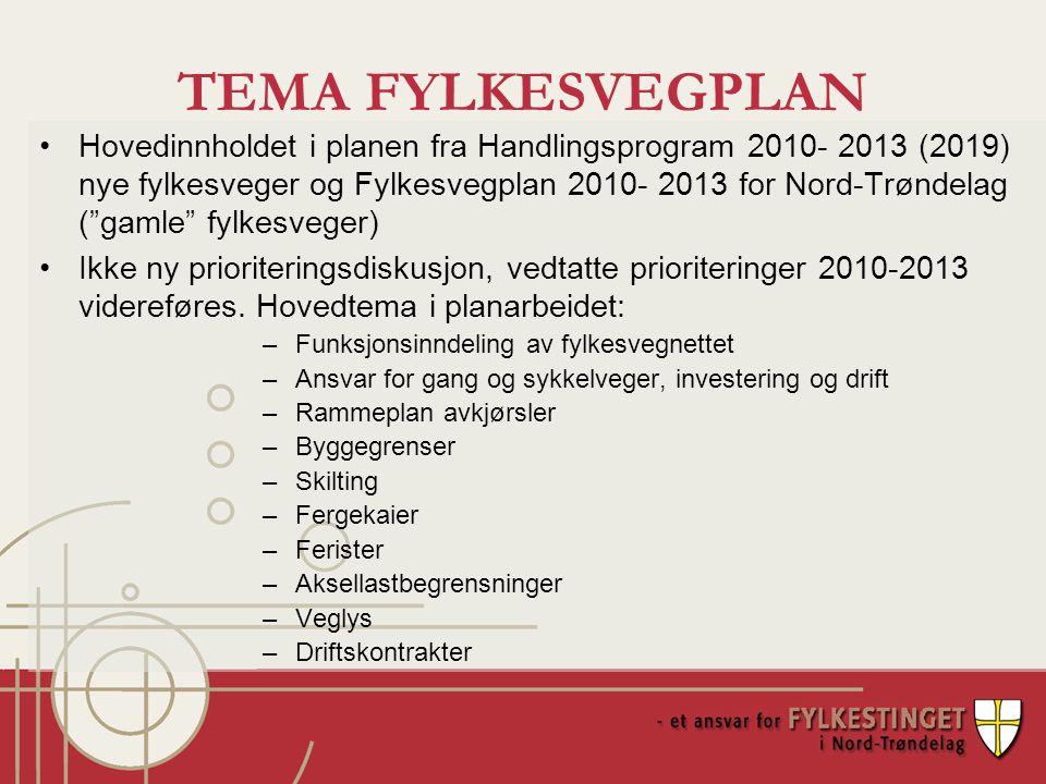 TEMA FYLKESVEGPLAN Hovedinnholdet i planen fra Handlingsprogram 2010- 2013 (2019) nye fylkesveger og Fylkesvegplan 2010- 2013 for Nord-Trøndelag ( gamle fylkesveger) Ikke ny prioriteringsdiskusjon, vedtatte prioriteringer 2010-2013 videreføres.