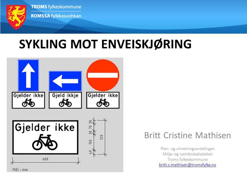 SYKLING MOT ENVEISKJØRING Britt Cristine Mathisen Plan- og utredningsavdelingen Miljø- og samferdselsetaten Troms fylkeskommune britt.c.mathisen@troms