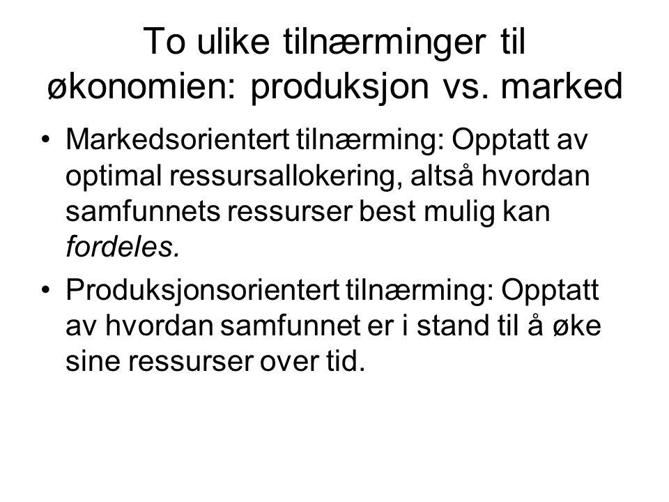 To ulike tilnærminger til økonomien: produksjon vs.