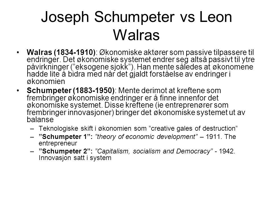 Joseph Schumpeter vs Leon Walras Walras (1834-1910): Økonomiske aktører som passive tilpassere til endringer.