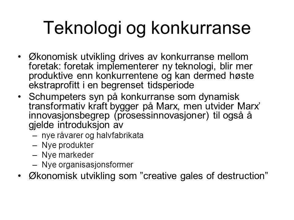 Teknologi og konkurranse Økonomisk utvikling drives av konkurranse mellom foretak: foretak implementerer ny teknologi, blir mer produktive enn konkurrentene og kan dermed høste ekstraprofitt i en begrenset tidsperiode Schumpeters syn på konkurranse som dynamisk transformativ kraft bygger på Marx, men utvider Marx' innovasjonsbegrep (prosessinnovasjoner) til også å gjelde introduksjon av –nye råvarer og halvfabrikata –Nye produkter –Nye markeder –Nye organisasjonsformer Økonomisk utvikling som creative gales of destruction