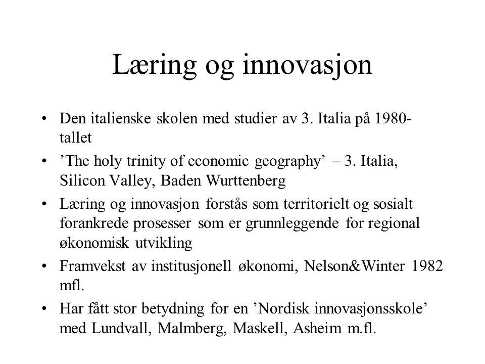Innovasjonssystemer Siden Freeman 1987 og Lundvall 1993 har det vært mye forskning på den systemiske dimensjonen ved institusjoner som støtter FoU (bedrifter, FoU institutter, høgskoler, konsulenter) Nasjonale og regionale innovasjonssystemer Ikke bare forskning, men også erfaringsoverføring viktig i slike systemer