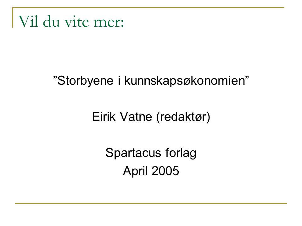 Vil du vite mer: Storbyene i kunnskapsøkonomien Eirik Vatne (redaktør) Spartacus forlag April 2005