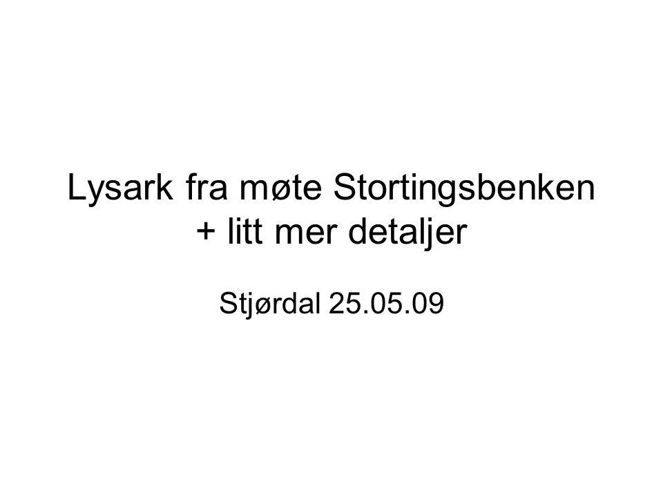Lysark fra møte Stortingsbenken + litt mer detaljer Stjørdal 25.05.09