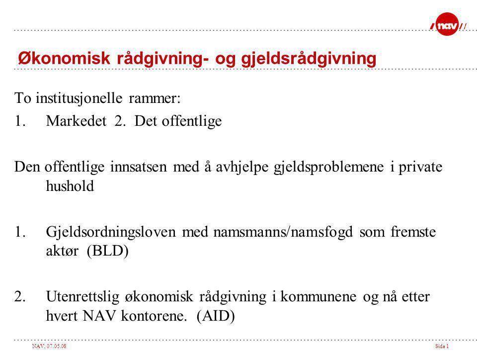 NAV, 07.05.08Side 1 Økonomisk rådgivning- og gjeldsrådgivning To institusjonelle rammer: 1.Markedet 2.