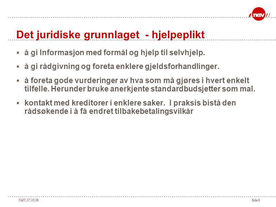 NAV, 07.05.08Side 6 Det juridiske grunnlaget - hjelpeplikt  å gi Informasjon med formål og hjelp til selvhjelp.