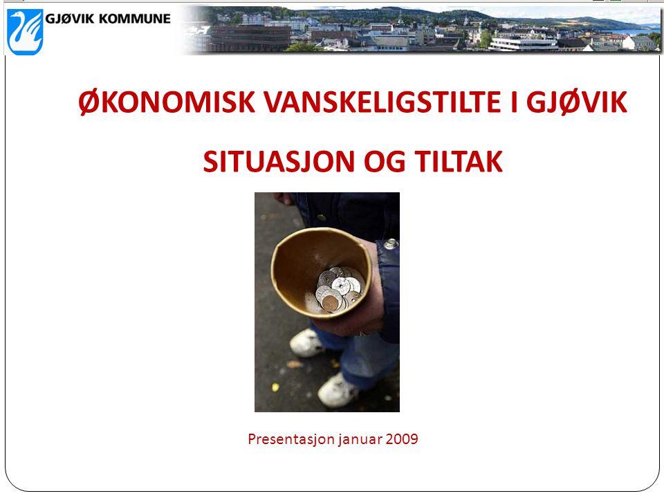 ØKONOMISK VANSKELIGSTILTE I GJØVIK SITUASJON OG TILTAK Presentasjon januar 2009