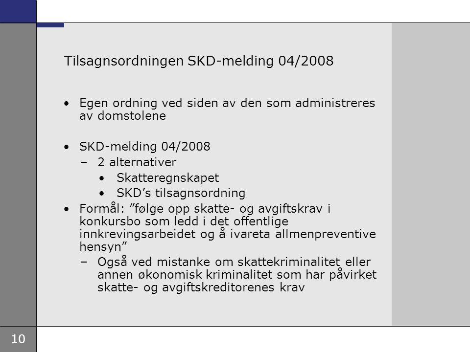 10 Tilsagnsordningen SKD-melding 04/2008 Egen ordning ved siden av den som administreres av domstolene SKD-melding 04/2008 –2 alternativer Skatteregns