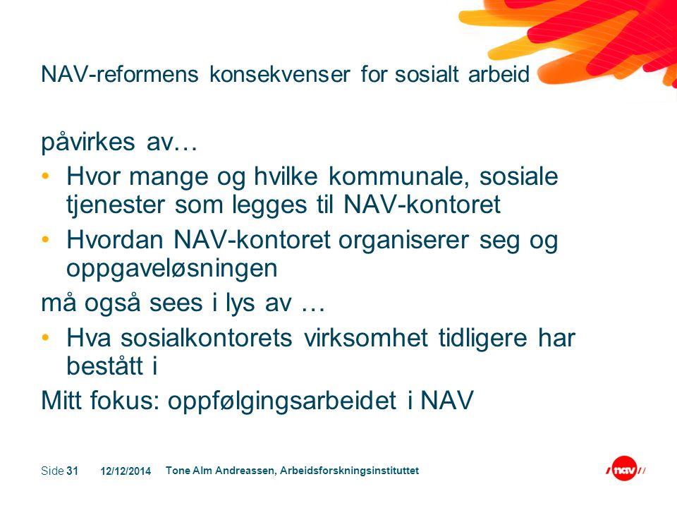 12/12/2014 Tone Alm Andreassen, Arbeidsforskningsinstituttet Side 31 NAV-reformens konsekvenser for sosialt arbeid påvirkes av… Hvor mange og hvilke k