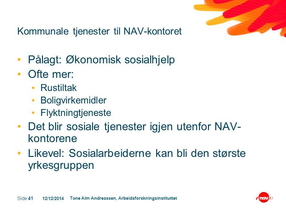 12/12/2014 Tone Alm Andreassen, Arbeidsforskningsinstituttet Side 41 Kommunale tjenester til NAV-kontoret Pålagt: Økonomisk sosialhjelp Ofte mer: Rust