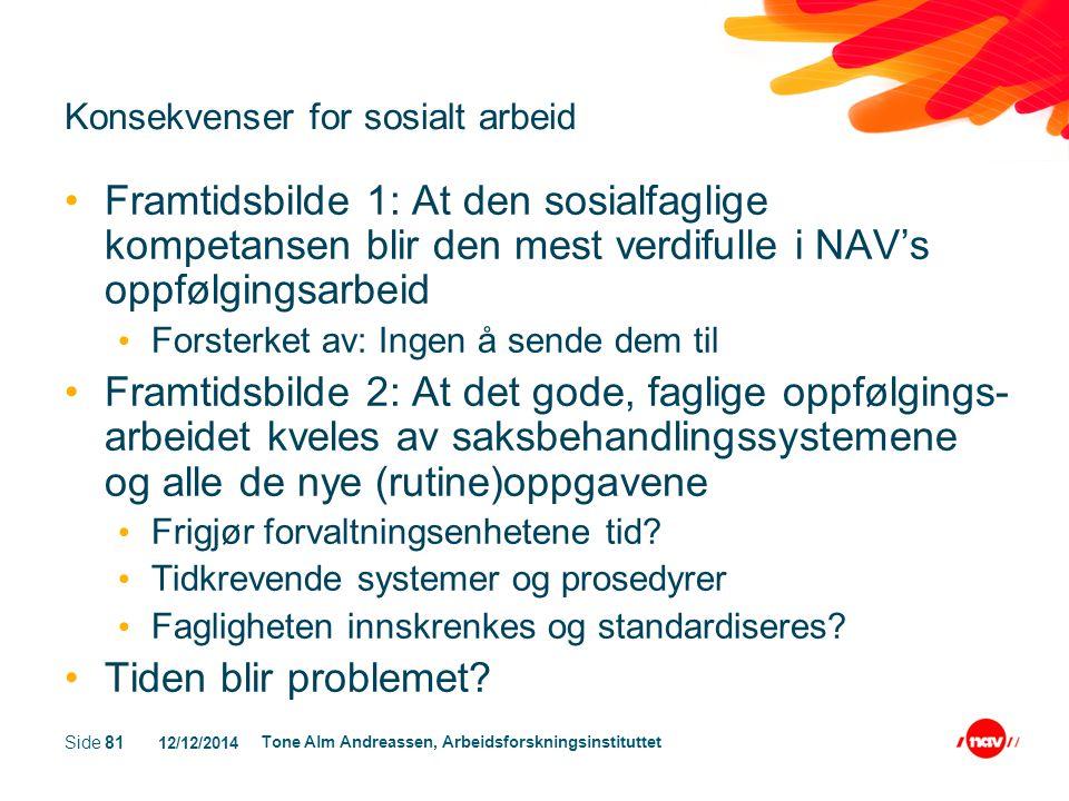 12/12/2014 Tone Alm Andreassen, Arbeidsforskningsinstituttet Side 81 Konsekvenser for sosialt arbeid Framtidsbilde 1: At den sosialfaglige kompetansen
