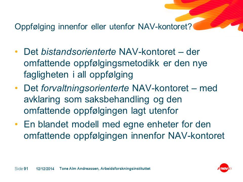 12/12/2014 Tone Alm Andreassen, Arbeidsforskningsinstituttet Side 101 NAV-reformen og utfordringer for sosialt arbeid 1.Å gripe mulighetene og fylle behovet NAV- kontorene vil ha for godt faglig oppfølgingsarbeid 2.Å utvikle brukermedvirkning som et møte der NAV-ansatte kan lære av brukerne, og å gi brukerne bistand til å utvikle sin egenorganisering