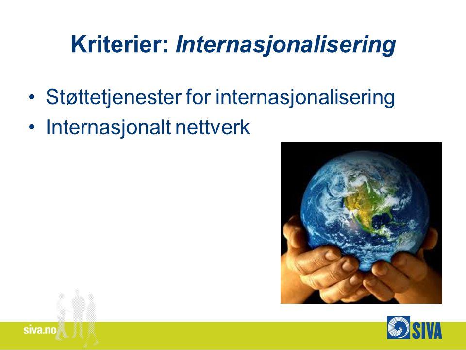 Kriterier: Internasjonalisering Støttetjenester for internasjonalisering Internasjonalt nettverk