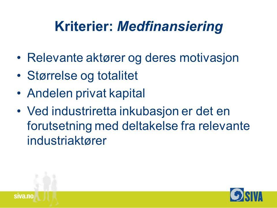 Kriterier: Medfinansiering Relevante aktører og deres motivasjon Størrelse og totalitet Andelen privat kapital Ved industriretta inkubasjon er det en forutsetning med deltakelse fra relevante industriaktører