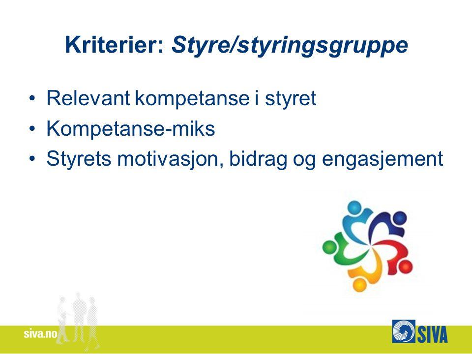 Kriterier: Styre/styringsgruppe Relevant kompetanse i styret Kompetanse-miks Styrets motivasjon, bidrag og engasjement