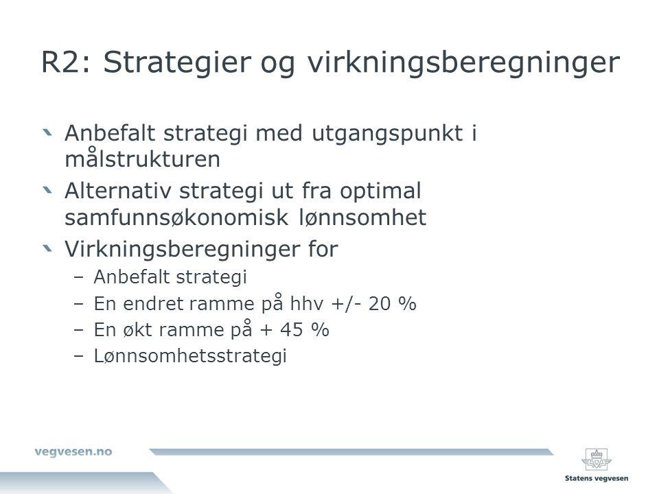 R2: Strategier og virkningsberegninger Anbefalt strategi med utgangspunkt i målstrukturen Alternativ strategi ut fra optimal samfunnsøkonomisk lønnsom