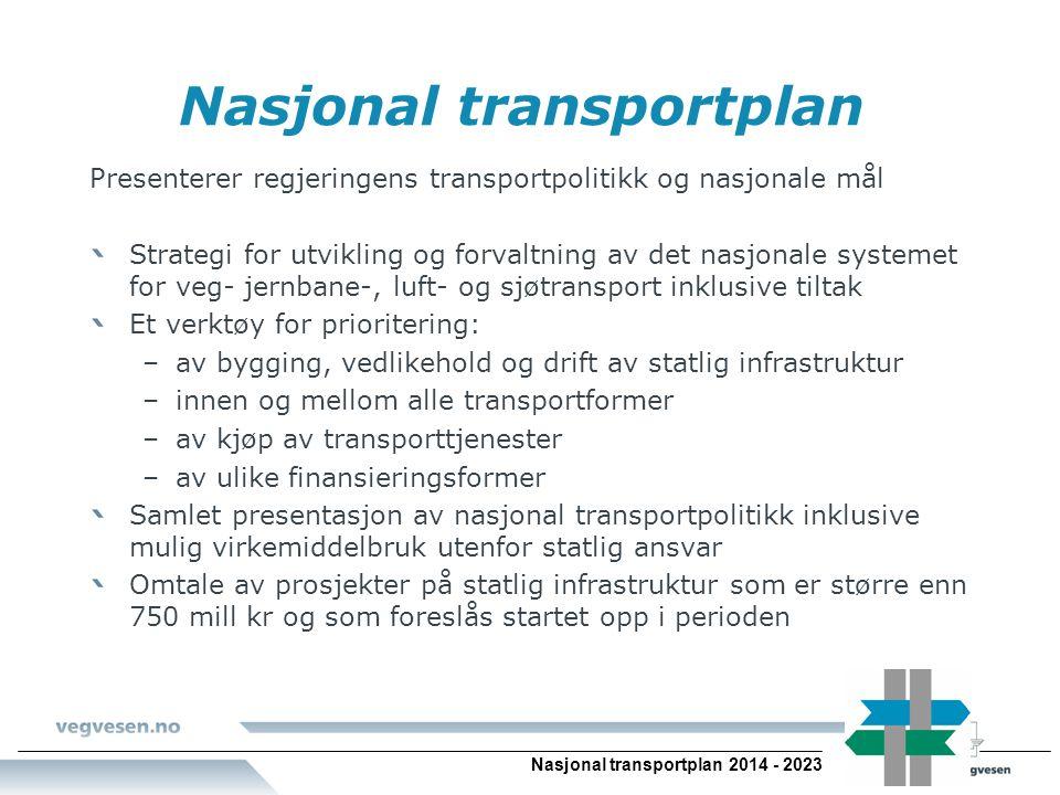 Nasjonal transportplan 2014 - 2023 Nasjonal transportplan Presenterer regjeringens transportpolitikk og nasjonale mål Strategi for utvikling og forval
