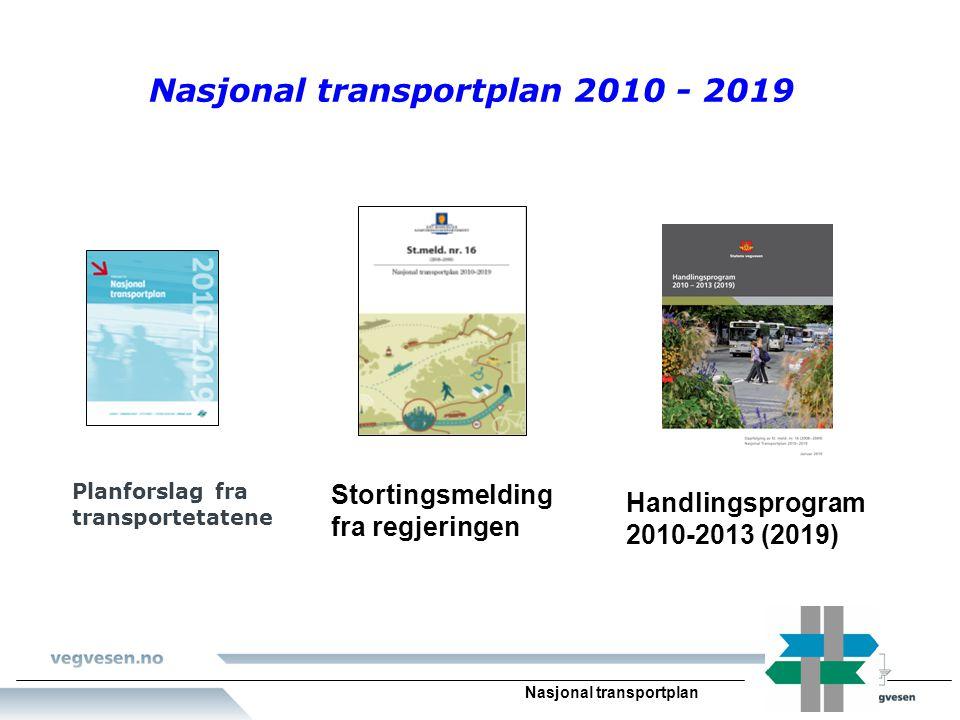 Nasjonal transportplan Nasjonal transportplan 2010 - 2019 Planforslag fra transportetatene Stortingsmelding fra regjeringen Handlingsprogram 2010-2013