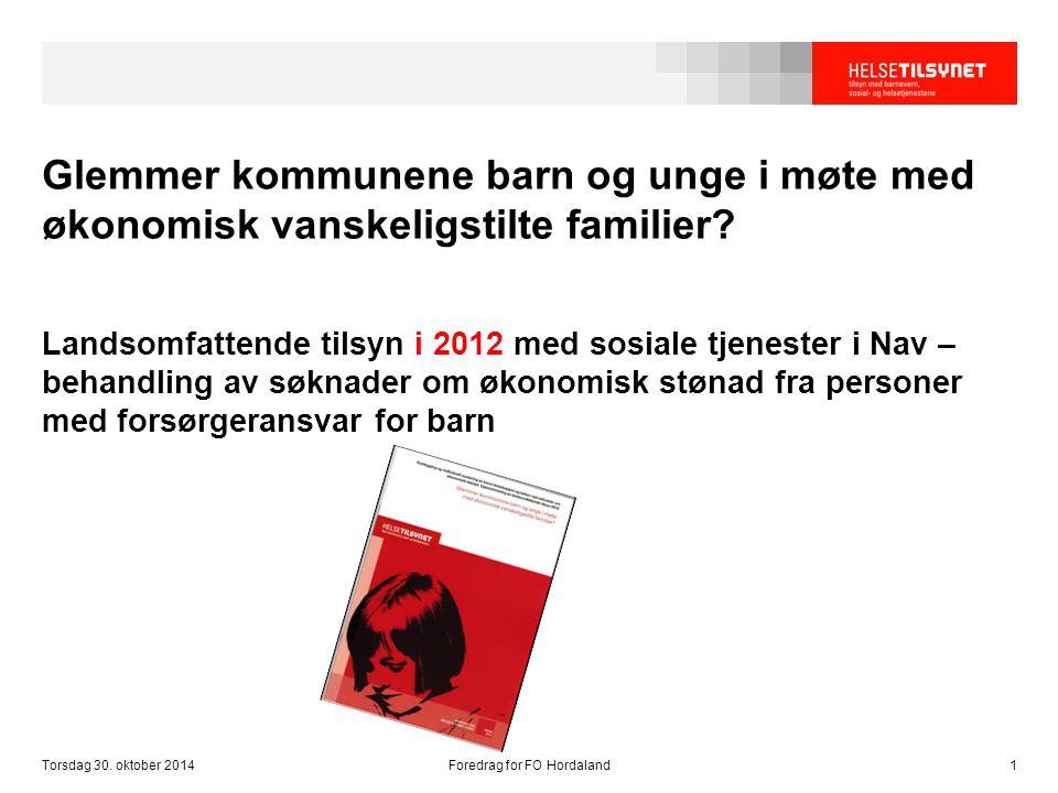 Glemmer kommunene barn og unge i møte med økonomisk vanskeligstilte familier? Landsomfattende tilsyn i 2012 med sosiale tjenester i Nav – behandling a
