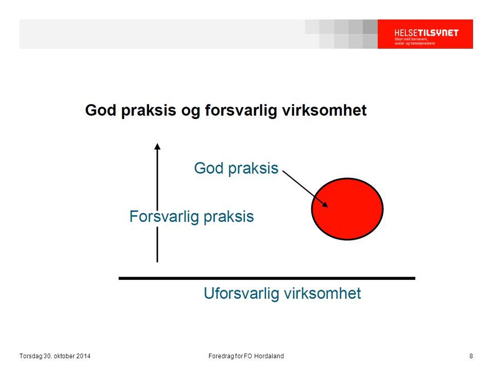 Torsdag 30. oktober 2014Foredrag for FO Hordaland8