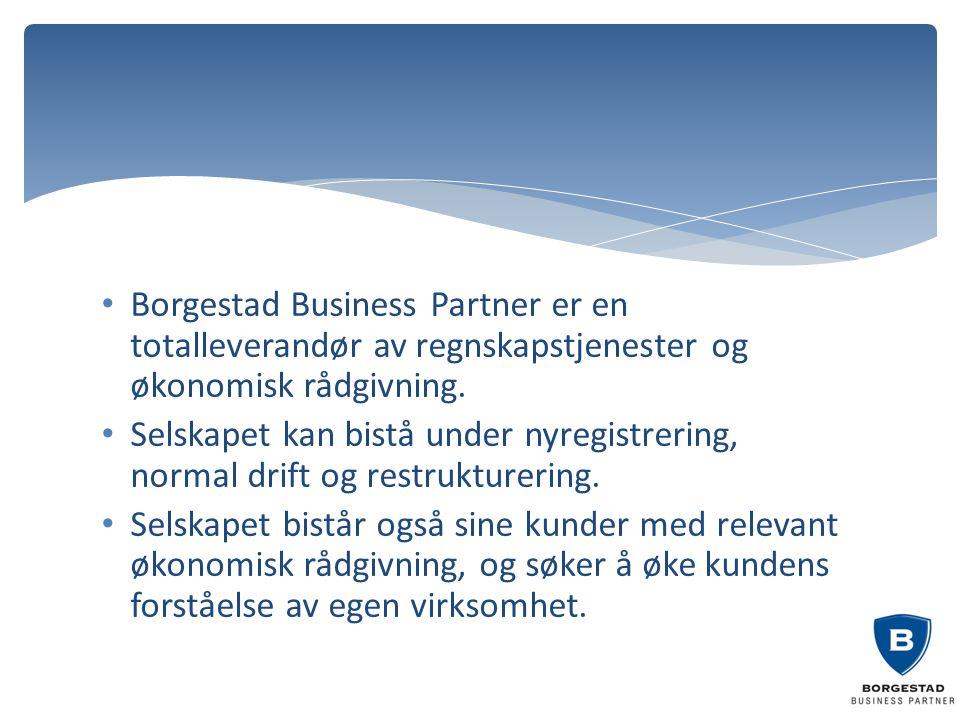 Borgestad Business Partner er en totalleverandør av regnskapstjenester og økonomisk rådgivning. Selskapet kan bistå under nyregistrering, normal drift