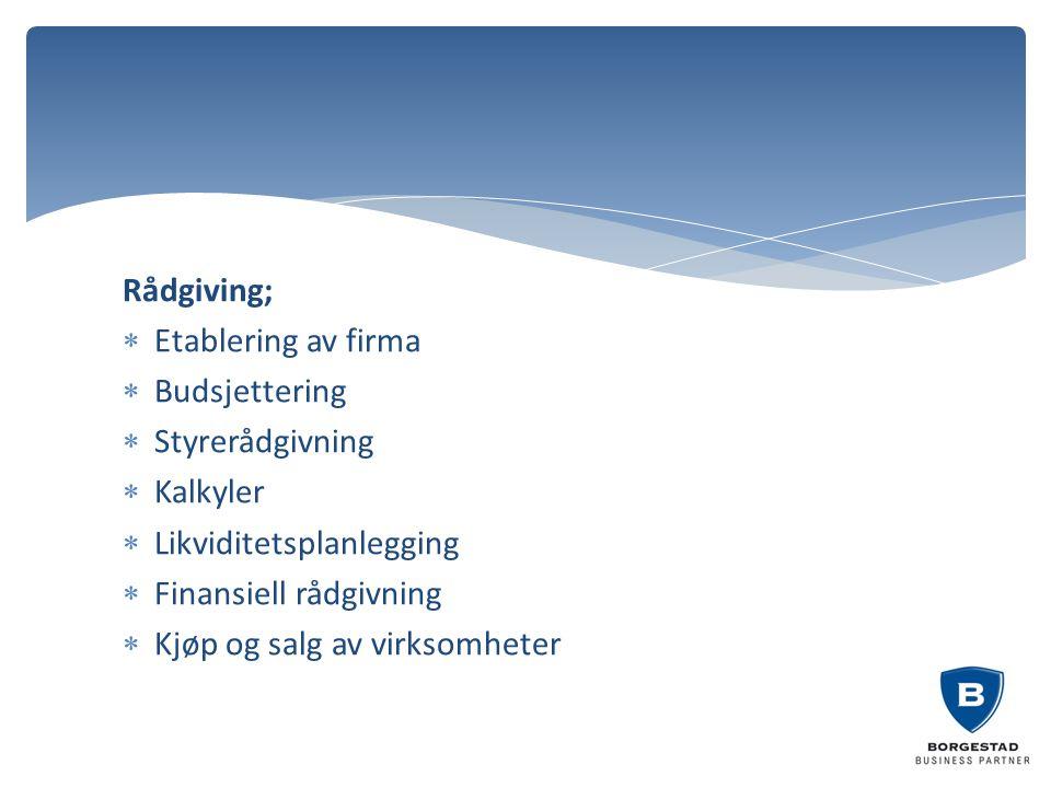 Rådgiving;  Etablering av firma  Budsjettering  Styrerådgivning  Kalkyler  Likviditetsplanlegging  Finansiell rådgivning  Kjøp og salg av virks
