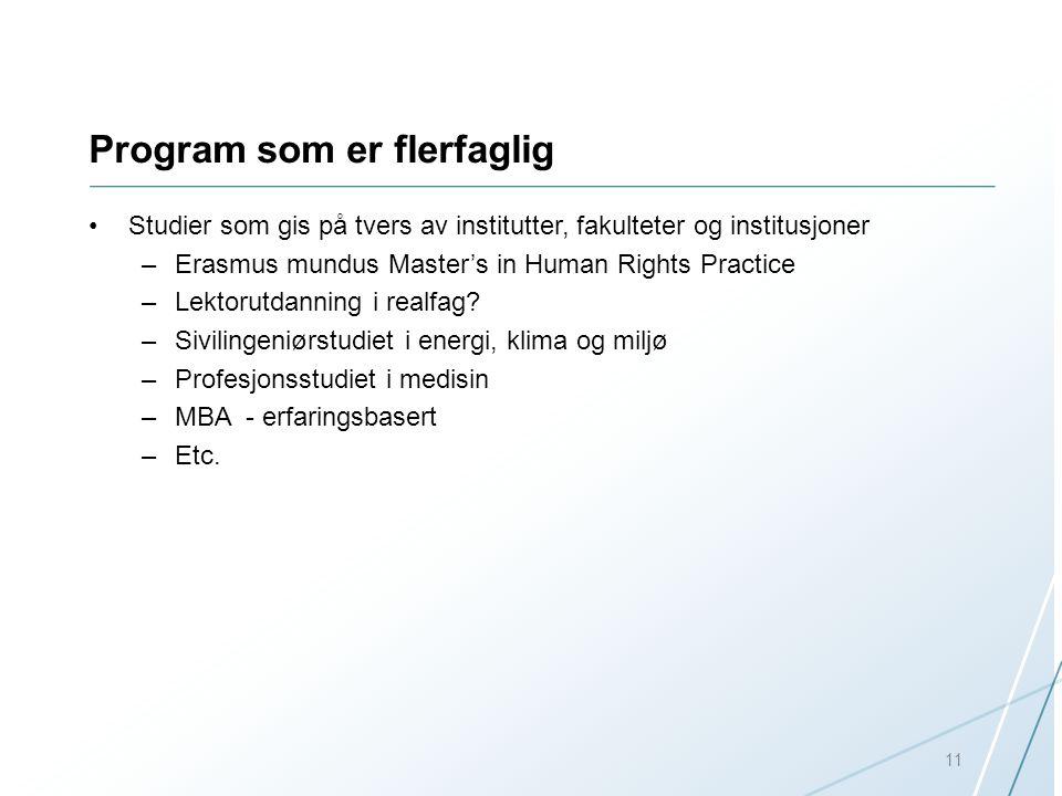 Program som er flerfaglig Studier som gis på tvers av institutter, fakulteter og institusjoner –Erasmus mundus Master's in Human Rights Practice –Lekt