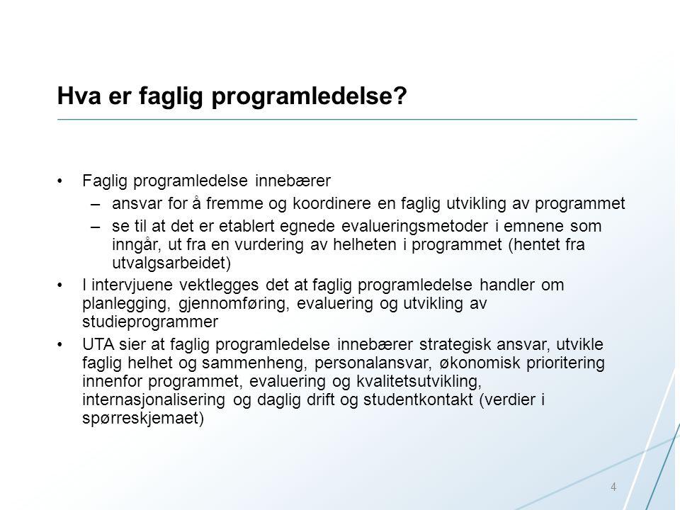 Hva er faglig programledelse? Faglig programledelse innebærer –ansvar for å fremme og koordinere en faglig utvikling av programmet –se til at det er e