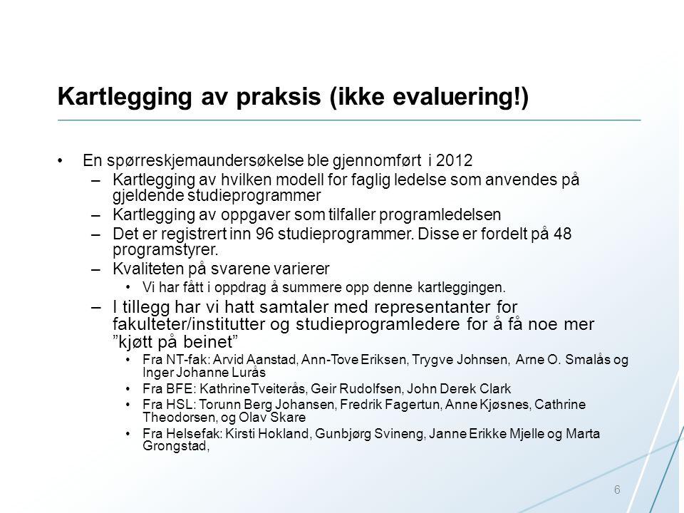 Kartlegging av praksis (ikke evaluering!) En spørreskjemaundersøkelse ble gjennomført i 2012 –Kartlegging av hvilken modell for faglig ledelse som anv