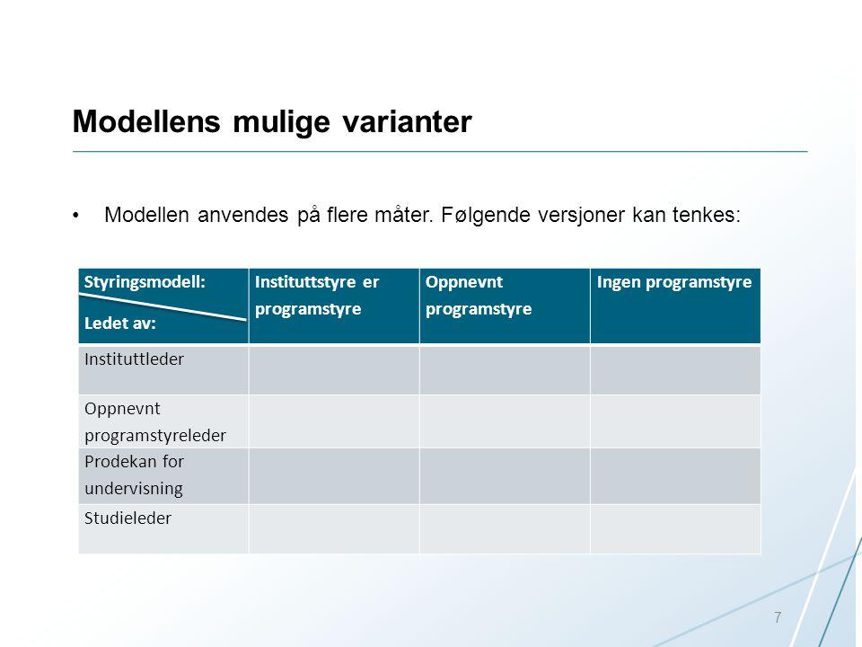 Modellens mulige varianter Modellen anvendes på flere måter. Følgende versjoner kan tenkes: Styringsmodell: Ledet av: Instituttstyre er programstyre O