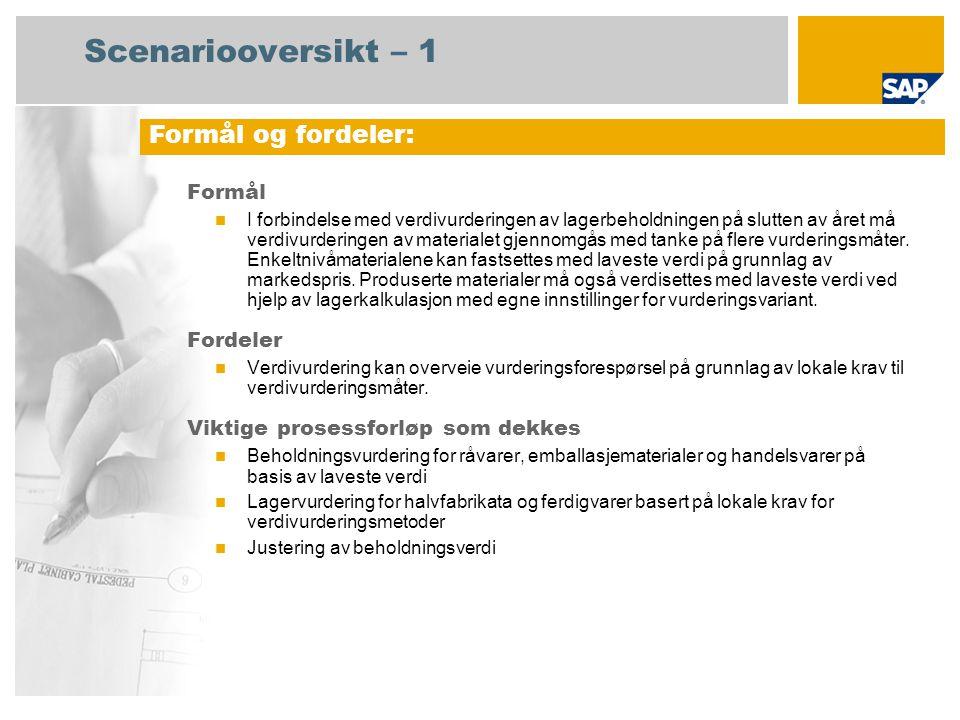 Scenariooversikt – 2 Obligatorisk SAP enhancement package 4 for SAP ERP 6.0 Brukerroller involvert i prosessforløp Lagersjef Foretakscontroller Produktkostnadscontroller Økonomisjef SAP-applikasjoner som kreves: