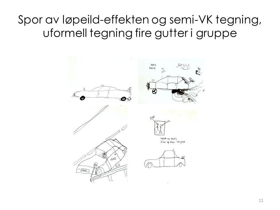 Spor av løpeild-effekten og semi-VK tegning, uformell tegning fire gutter i gruppe 11