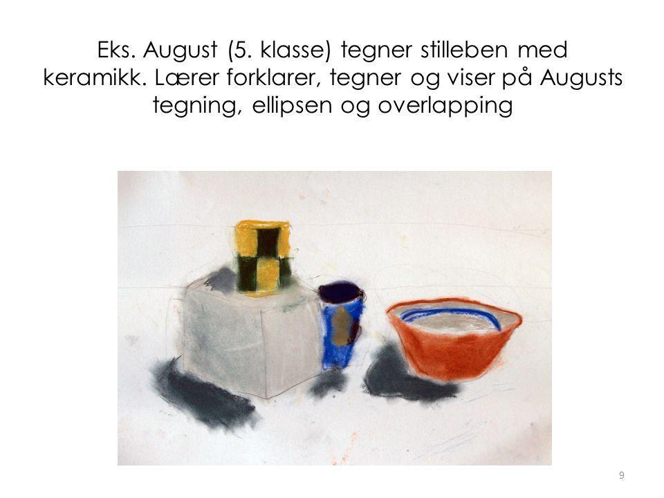 Eks. August (5. klasse) tegner stilleben med keramikk.