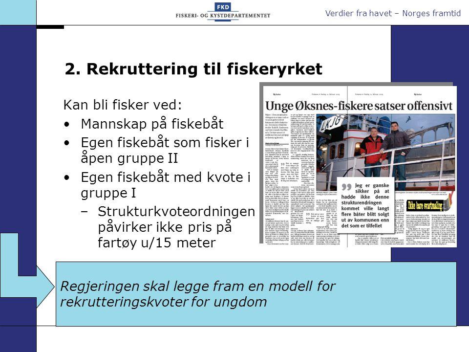 Verdier fra havet – Norges framtid 2. Rekruttering til fiskeryrket Kan bli fisker ved: Mannskap på fiskebåt Egen fiskebåt som fisker i åpen gruppe II