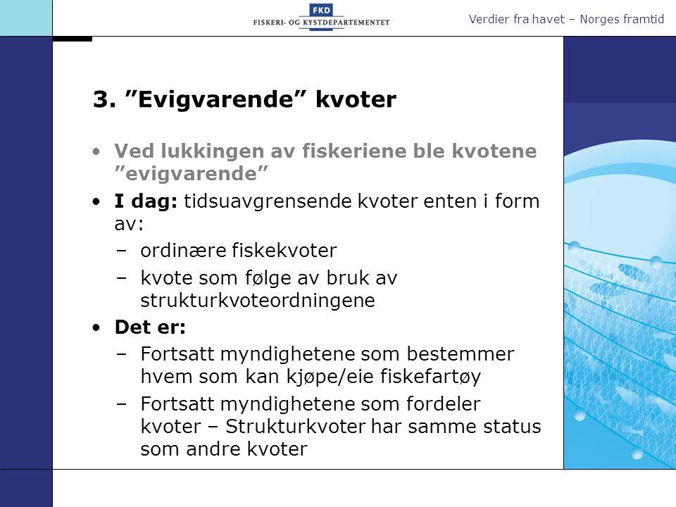 """Verdier fra havet – Norges framtid 3. """"Evigvarende"""" kvoter Ved lukkingen av fiskeriene ble kvotene """"evigvarende"""" I dag: tidsuavgrensende kvoter enten"""