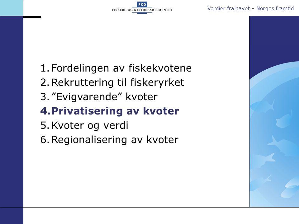 Verdier fra havet – Norges framtid 1.Fordelingen av fiskekvotene 2.Rekruttering til fiskeryrket 3. Evigvarende kvoter 4.Privatisering av kvoter 5.Kvoter og verdi 6.Regionalisering av kvoter