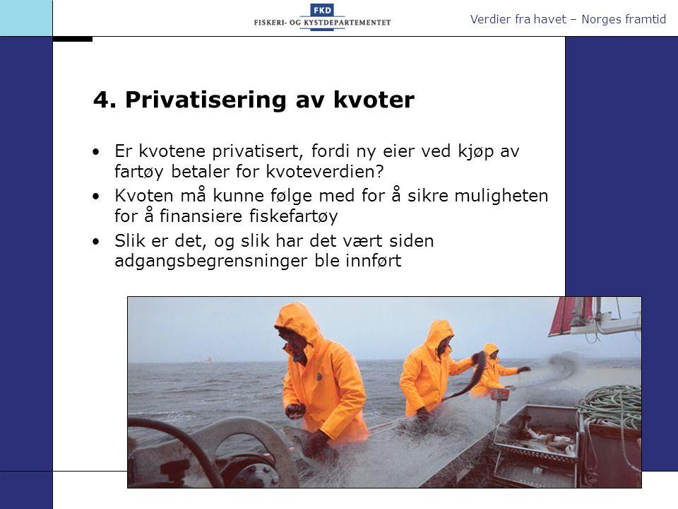 Verdier fra havet – Norges framtid 4. Privatisering av kvoter Er kvotene privatisert, fordi ny eier ved kjøp av fartøy betaler for kvoteverdien? Kvote