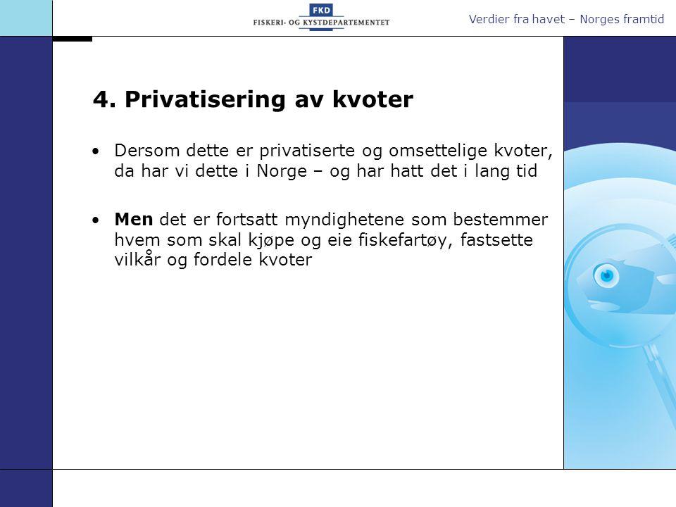 Verdier fra havet – Norges framtid 4. Privatisering av kvoter Dersom dette er privatiserte og omsettelige kvoter, da har vi dette i Norge – og har hat