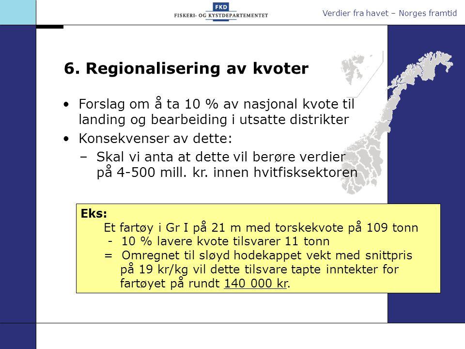 Verdier fra havet – Norges framtid 6. Regionalisering av kvoter Eks: Et fartøy i Gr I på 21 m med torskekvote på 109 tonn - 10 % lavere kvote tilsvare