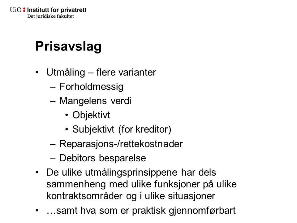 Prisavslag Prisavslagets størrelse – forholdsmessig Kjl.