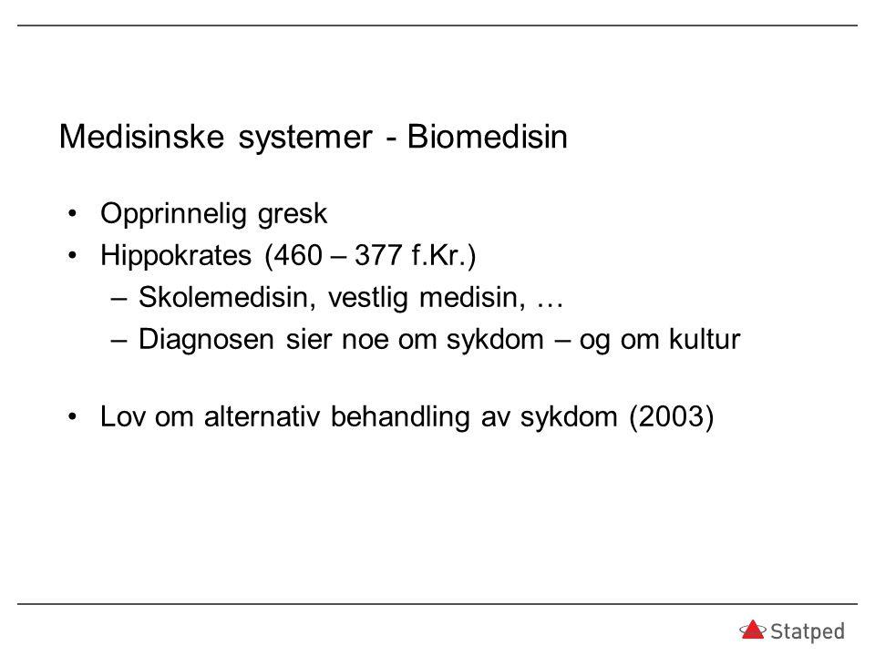 Medisinske systemer - Biomedisin Opprinnelig gresk Hippokrates (460 – 377 f.Kr.) –Skolemedisin, vestlig medisin, … –Diagnosen sier noe om sykdom – og om kultur Lov om alternativ behandling av sykdom (2003)