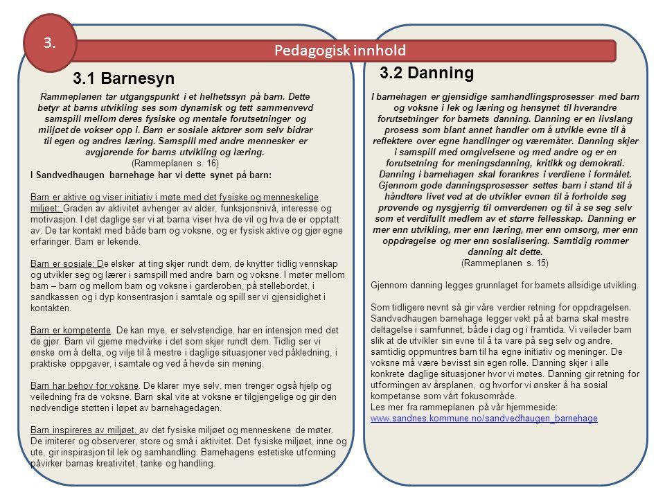 Pedagogisk innhold 3. 3.1 Barnesyn Rammeplanen tar utgangspunkt i et helhetssyn på barn. Dette betyr at barns utvikling ses som dynamisk og tett samme