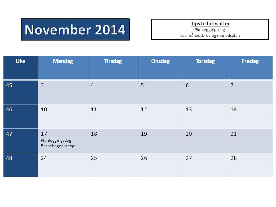 Tips til foresatte: Planleggingsdag Les månedsbrev og månedsplan UkeMandagTirsdagOnsdagTorsdagFredag 4534567 461011121314 4717 Planleggingsdag Barneha