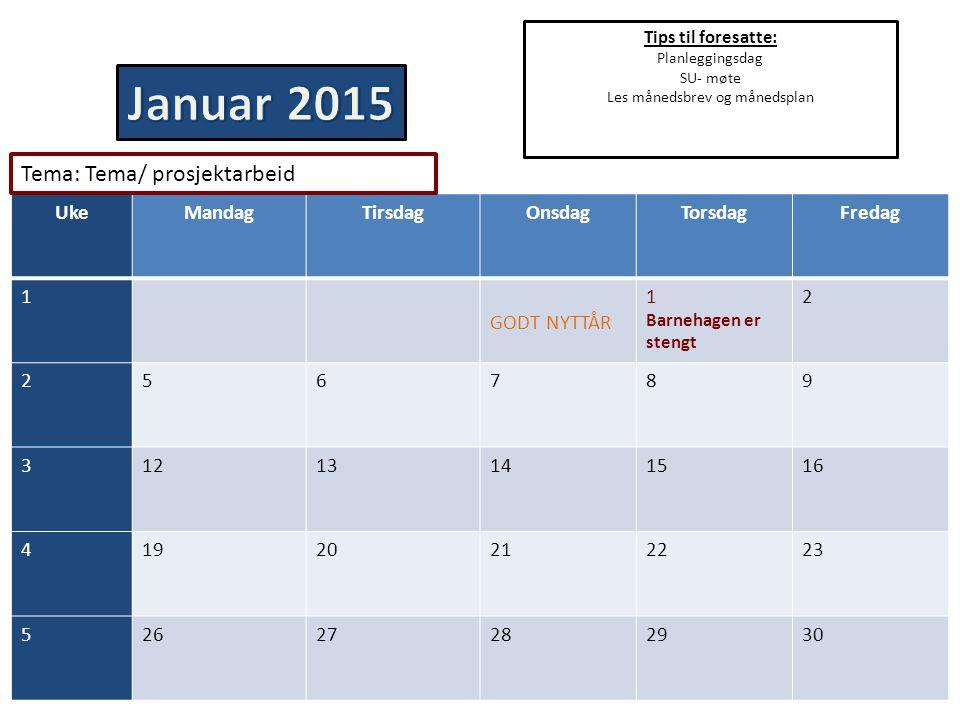 Tips til foresatte: Planleggingsdag SU- møte Les månedsbrev og månedsplan UkeMandagTirsdagOnsdagTorsdagFredag 1 GODT NYTTÅR 1 Barnehagen er stengt 2 2