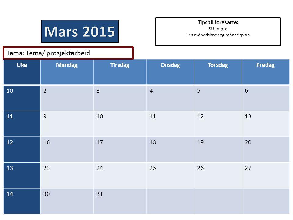 Tips til foresatte: SU- møte Les månedsbrev og månedsplan UkeMandagTirsdagOnsdagTorsdagFredag 1023456 11910111213 121617181920 132324252627 143031 Tem