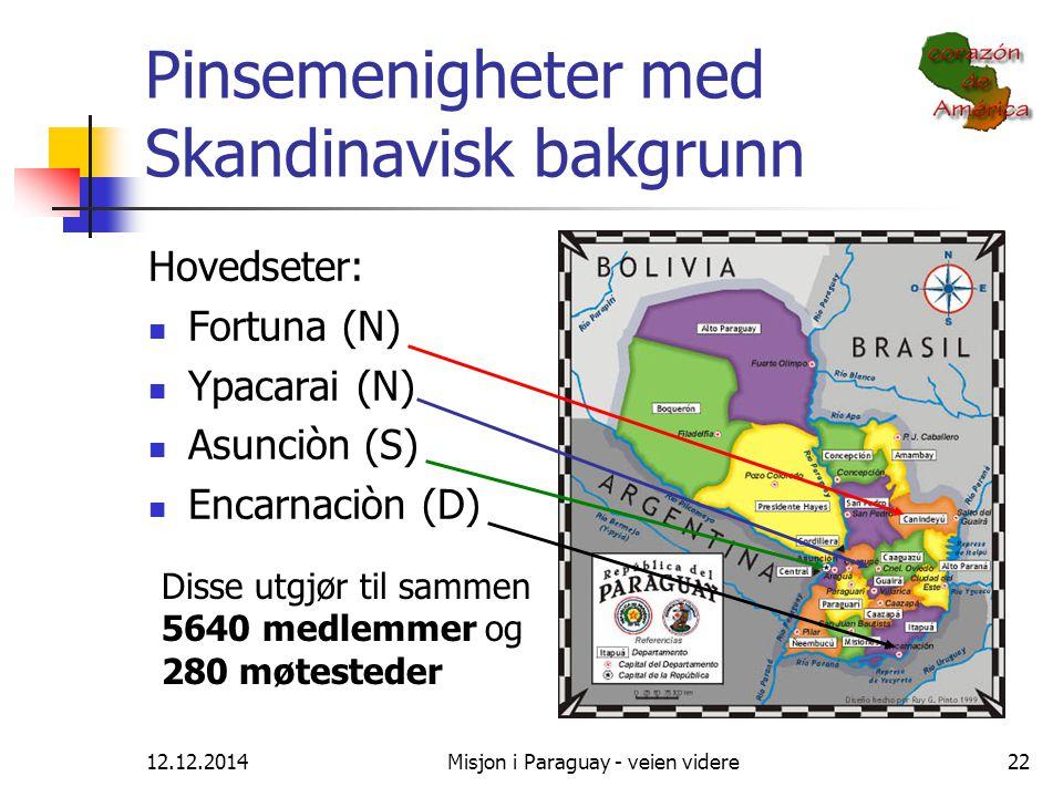 12.12.2014Misjon i Paraguay - veien videre22 Pinsemenigheter med Skandinavisk bakgrunn Hovedseter: Fortuna (N) Ypacarai (N) Asunciòn (S) Encarnaciòn (